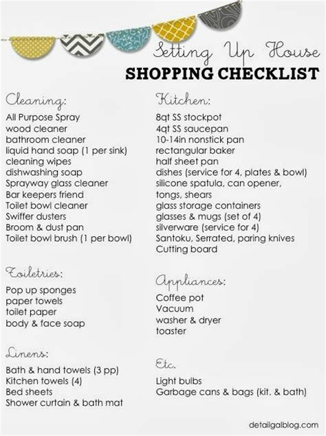 New House Checklist Of Things Needed | www detailgal com setting up house checklist kitchen