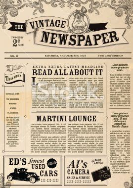 newspaper theme vector vector illustration of a front page of an old newspaper