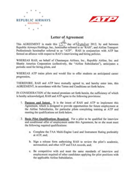 Letter Of Agreement Definition Aviation Airline Pilot Hiring Partnerships Atp Flight School