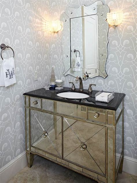 glam mirrored vanity stool glam bedroom pinterest mirrored washstand transitional bathroom bhg
