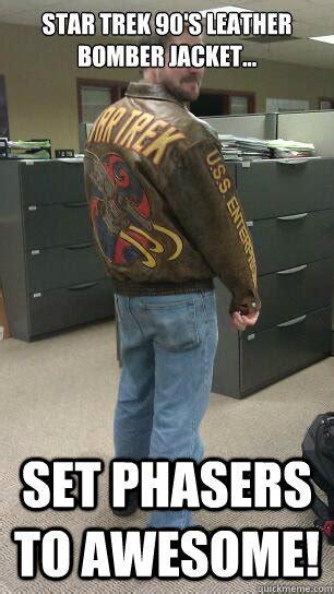 Meme Jacket - star trek 90 s leather bomber jacket set phasers to