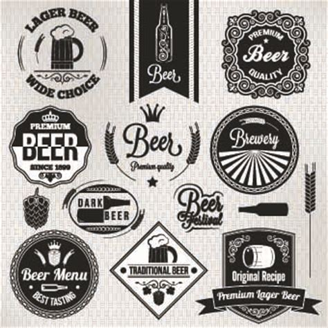 design beer logo photoshop black and white beer labels vector vector label free