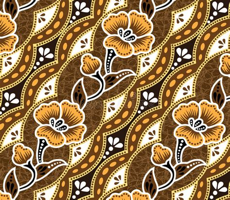 design batik drawing brown batik beautiful brown background and flowers stock