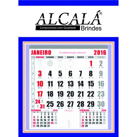 Calendario Grande 100 Folhinhas Comercial Grande Calend 225 2016