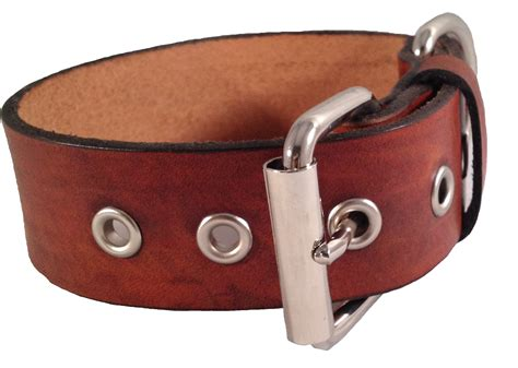 Handmade Collars - handmade leather collar 1 quot wide