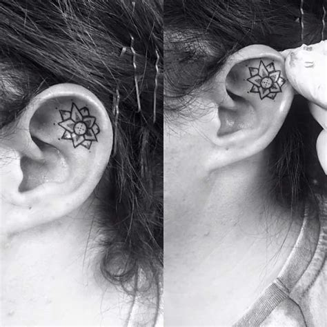 inner ear tattoos 69 unconventional ear designs to drool