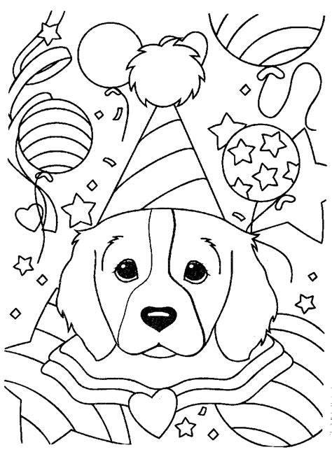 happy birthday dog coloring pages lisa frank coloring pages puppy birthday party coloringstar