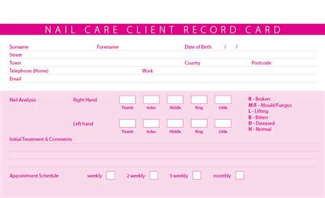 client card template new nail care treatment consultation client record cards