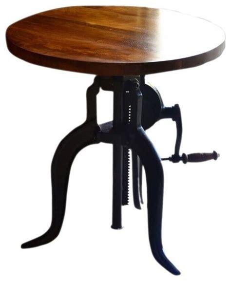 hi lo adjustable accent crank table chestnut finish top