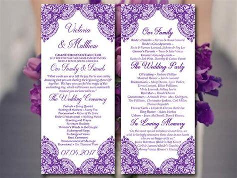 Tea Length Wedding Invitations Diy lace wedding program template tea length program grape