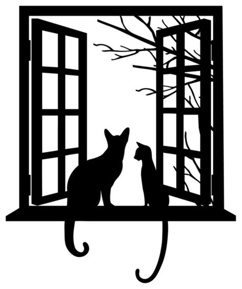 Cat looking through Window Silhouette Modern Wall Decals by Dana Decals