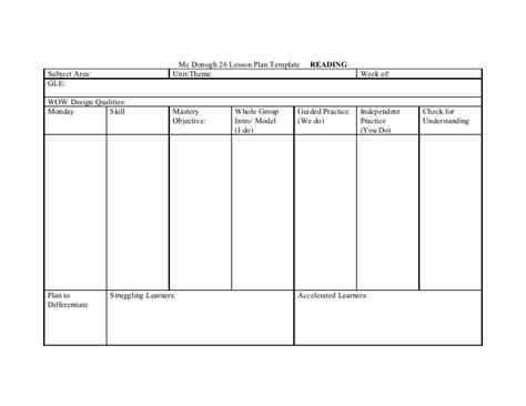 Lesson Plan Template For Reading Intervention mc donogh 26 lesson plan template reading