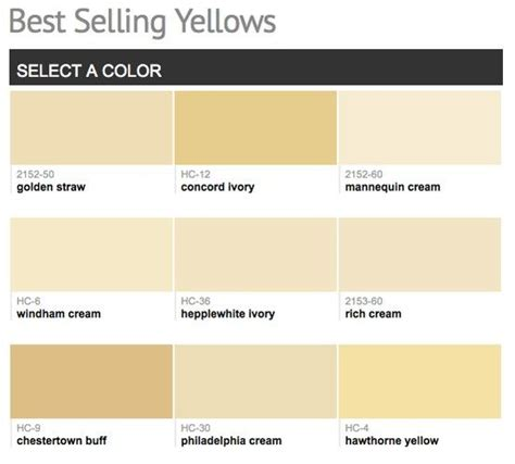 best selling popular shades of yellow gold paint colors from benjamin for