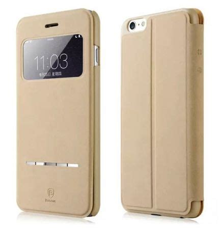 Baseus Terse Leather Flip Book Window Cover Sarung Xiaomi Redmi 2 baseus apple iphone 6 iphone 6s 4 7 inch smart touch terse leather cover with screen