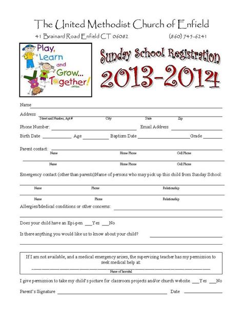 school registration form template word sunday school registration form classroom
