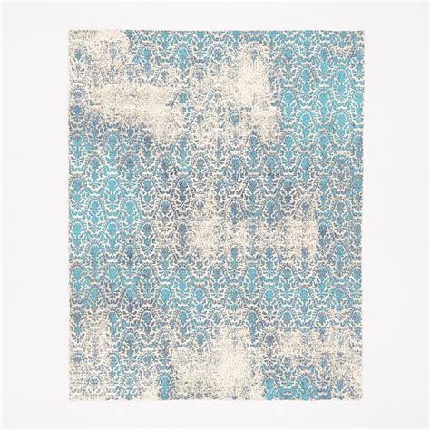 Distressed Wool Rug by Distressed Damask Wool Rug Blue Lagoon West Elm