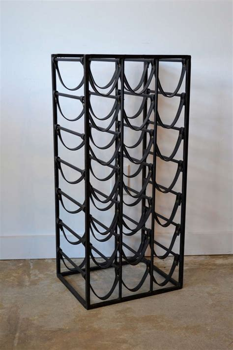 leather wine rack mid century wrought iron and leather wine rack in the
