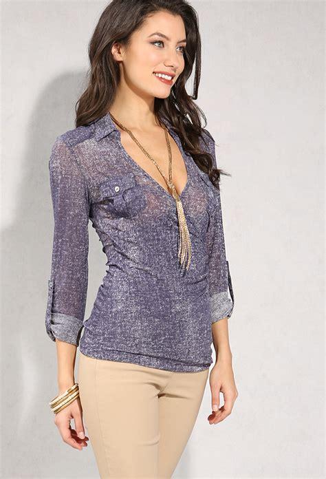 Preloved Sheer Blouse 1 semi sheer denim print surplice blouse shop tops at papaya clothing