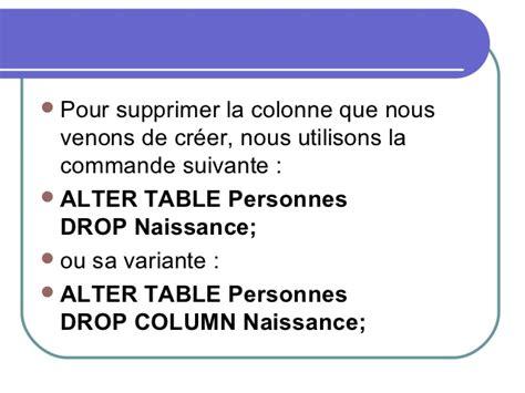 sql supprimer table les commandes sql
