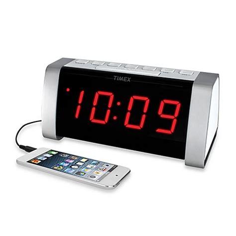 buy timex 174 am fm jumbo display dual alarm clock radio in white from bed bath beyond