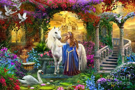 Jumbo Wall Murals princess and unicorn in the cloisters digital art by jan