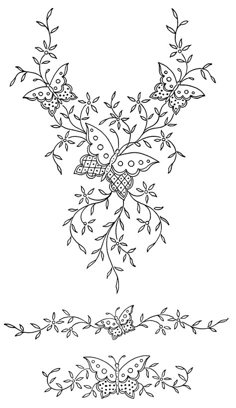 black and white embroidery patterns butterflies and flowers free vintage clip art old