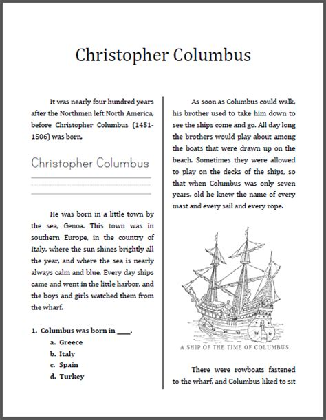 christopher columbus biography and life story christopher columbus workbook for lower elementary