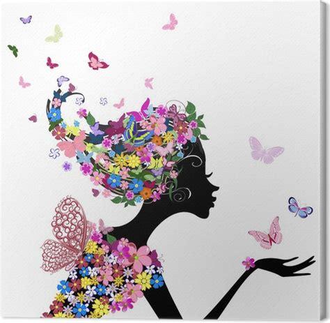 quadri fiori su tela quadro su tela ragazza con fiori e farfalle pixers