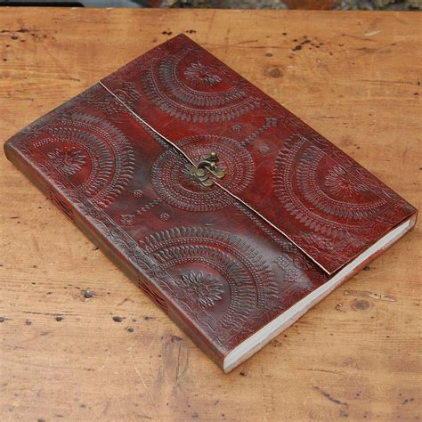 Handcrafted Journals - handcrafted indra hefty embossed leather journal by paper