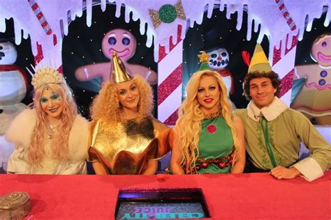 celebrity juice the grinch ayda williams and fearne cotton snog in steamy christmas