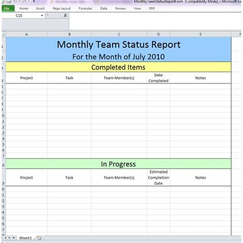 status update report template weekly status update template monthly team report pictures
