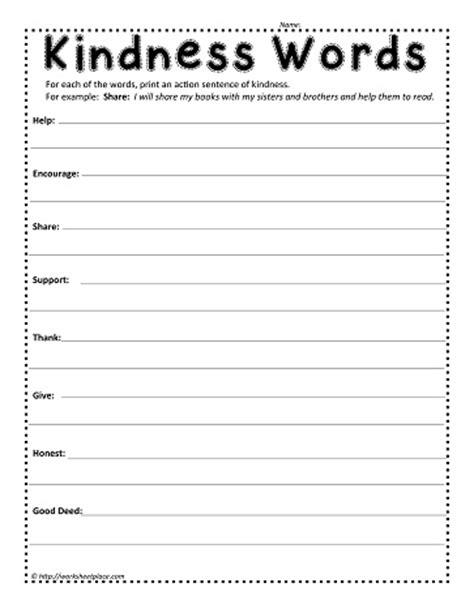 Kindness Worksheets by Kindness Words Worksheets