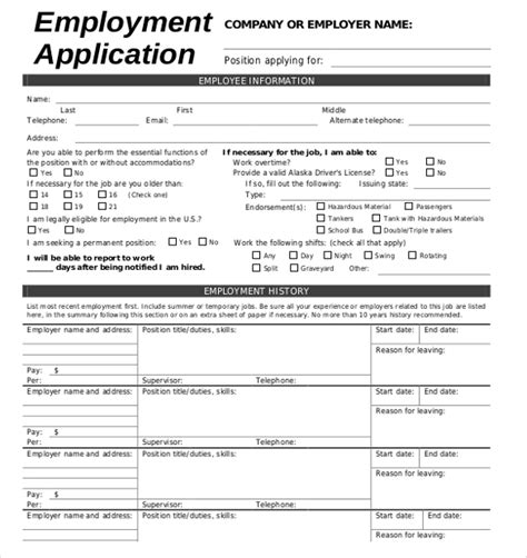 employment application template 15 employment application templates free sle
