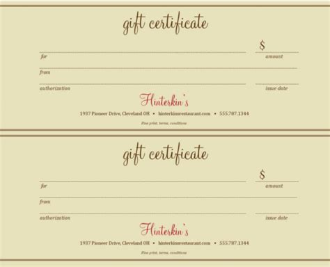 printable gift certificates for restaurants 20 restaurant gift certificate templates free sle