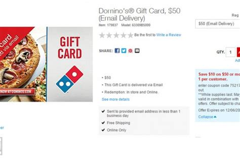 Buy Dominos Gift Card - deal dominos buy 50 gift card for 40 fast food watch