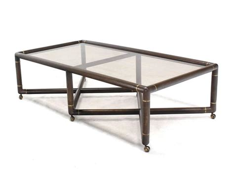 Double X Base Glass Top Rectangular Coffee Table On Wheels Glass Coffee Table With Wheels