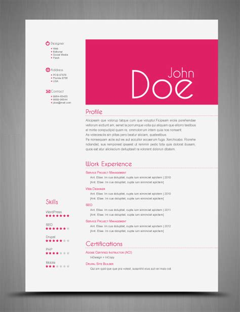 free resume template indesign resume format template cv indesign