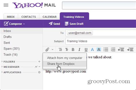 email yahoo open send large files in yahoo mail with dropbox