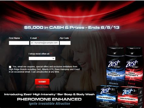 Online Sweepstakes 2013 - zest high intensity 5 000 vegas weekend online sweepstakes