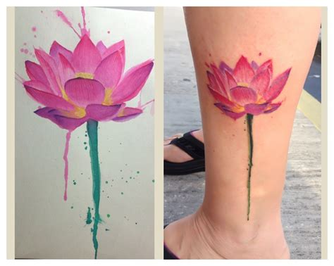 watercolor tattoos lotus my lotus watercolor tattoos by eddie amaryllis