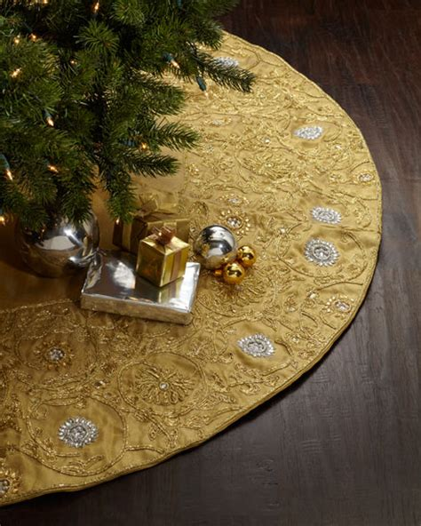 sudha pennathur gold beaded christmas tree skirt neiman