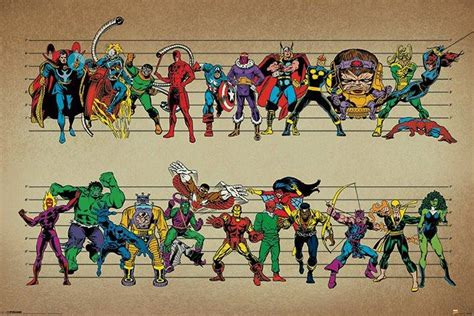 Superhero Wall Mural marvel posters marvel characters line up poster pp33542