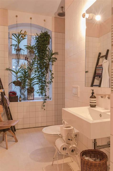 bathroom hanging plants creating a seamless flow between home and garden