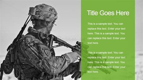 Military Two Tiles Slide With Soldier Background Slidemodel Army Powerpoint Templates