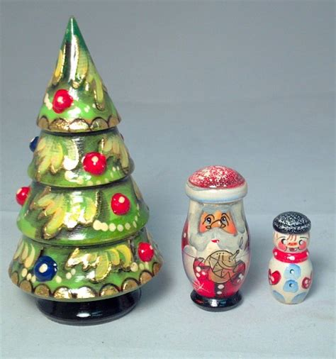 christmas tree with ornaments 3 piece russian handcrafted