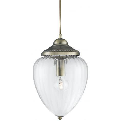 Glass Lantern Pendant Light Traditional Lantern Antique Brass With Ribbed Optic