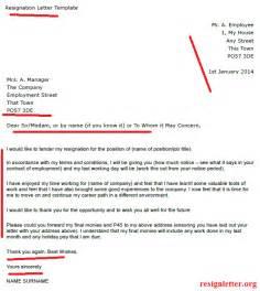 handing in notice at work template exle resignation letter template resignation letter
