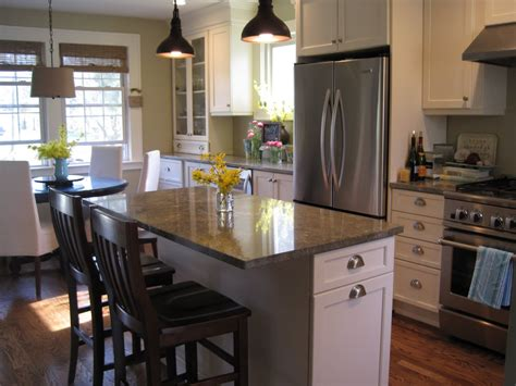 Kitchen Islands With Seating For 3 Looking Gray Square Marble Top Kitchen Island With Seating And Two Black Tulip Hanging