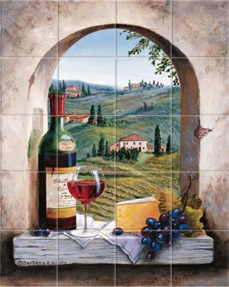 the vineyard tile murals tuscan wine tiles kitchen tuscany mural shows a vineyard farmhouses countryside