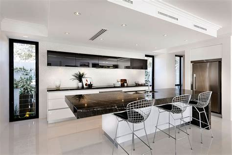 kitchens with black bench tops galley white kitchen with black benchtops google search